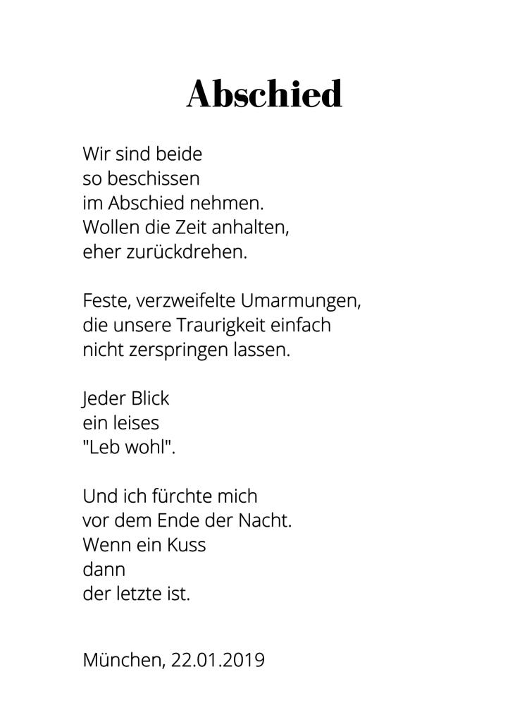 Gedicht über Abschied